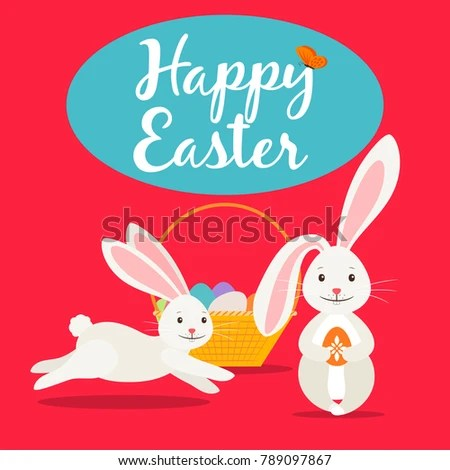 Happy Easter Greeting Card Template Cute Stock Illustration