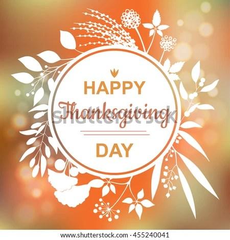 Happy Thanksgiving Card Design Elegant Branch Stock Photo (Photo
