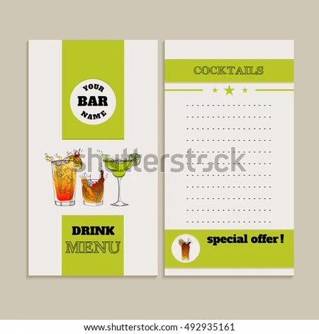 Vector Drink Menu Design Template Handdrawn Stock Vector 492935161 - menu design template