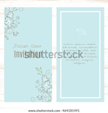Pastel Blue Greeting Card Template Floral Stock Vector (2018