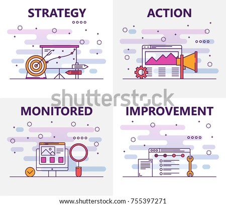 Vector Set Action Plan Concept Banners Stock Vector 755397271 - strategic action plan template
