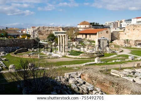 Most Famous Architectural Landmarks Ancient Greek Stock Photo