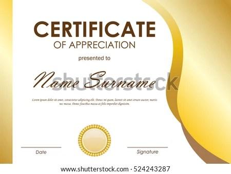 Certificate Appreciation Template Gold Wavy Curved Stock Vector - certificate of appreciation template