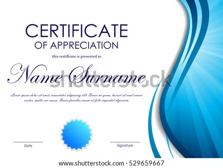 Certificate Appreciation Template Blue Dynamic Wavy Stock Vector