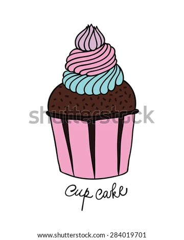 Hand Drawn Chocolate Creamy Cup Cake Stock Vector 284019701