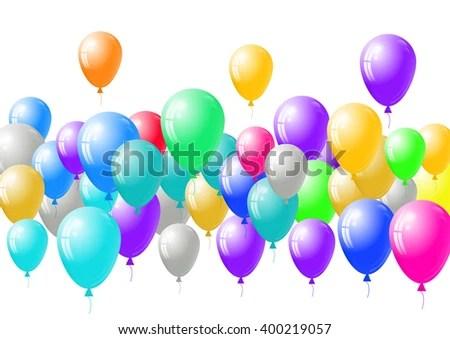 Festive Blank Card Template Balloons Background Stock Vector - blank card template