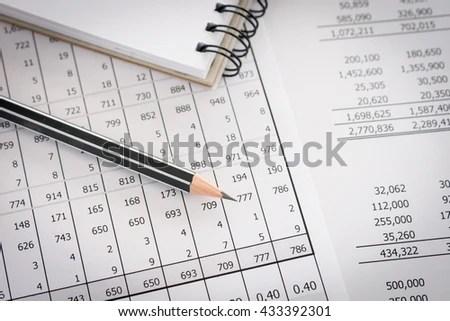 Balance Sheet Pencil Notebooks On Desk Stock Photo (100 Legal - create a balance sheet
