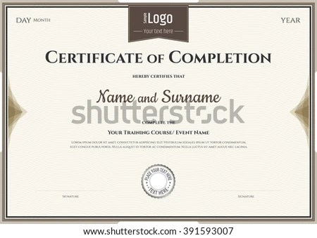 Certificate Completion Template Vector Achievement Graduation Stock - certification of completion sample