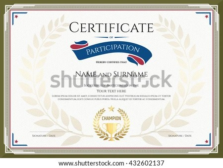 Certificate Participation Template Green Border Gold Stock Photo - certificate of participation template