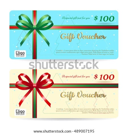 Christmas Gift Card Gift Voucher Template Stock Vector 489007183 - christmas gift vouchers templates