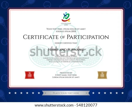 Sport Theme Certification Participation Template Sport Stock Photo