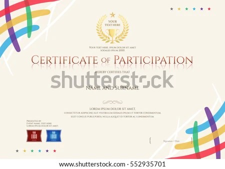 Certificate Participation Template Colorful Corner Trophy Stock - design of certificate of participation