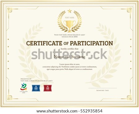 Certificate Participation Template Gold Theme Trophy Stock Vector - certificate of participation template