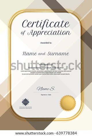 Portrait Modern Certificate Appreciation Template Modern Stock - certificate of appreciation template