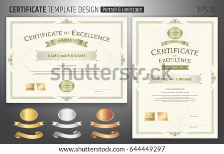 Set Certificate Excellence Template Portrait Landscape Stock Photo