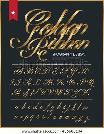 Premium Golden Ribbon Font Design Luxury Stock Vector ...