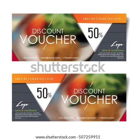 Discount Voucher Template Modern Pattern Place Stock Vector - Lunch Voucher Template