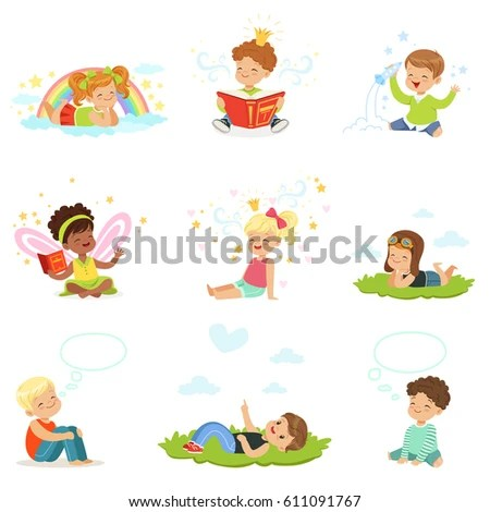 Happy Lovely Children Play Dream Cartoon Stock Vector 611091767 - cartoon children play