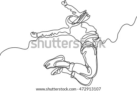 Continuous Line Drawing Happy Jumping Woman Stock Vector (Royalty - line drawing