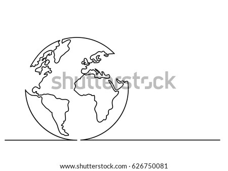 Continuous Line Drawing Globe Stock Vector (Royalty Free) 626750081 - line drawing