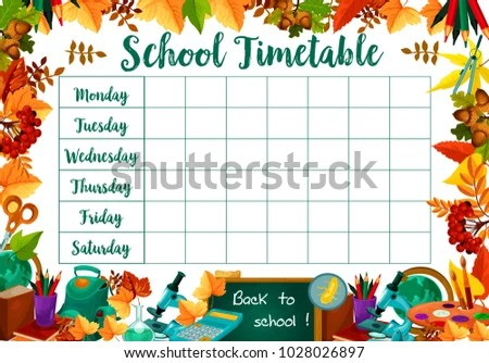 School Daily Timetable Lesson Schedule School Stock Vector HD