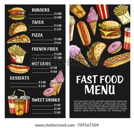 Fast Food Menu Template Vector Price Stock Vector (Royalty Free - free food menu template