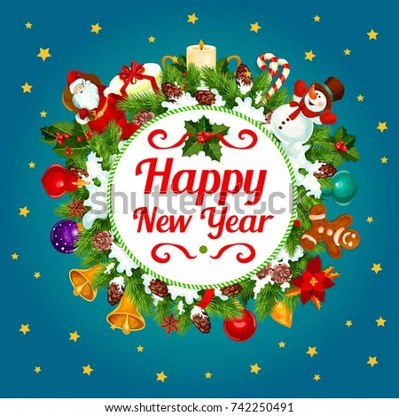 Happy New Year Greeting Card Design Stock Vector (2018) 742250491