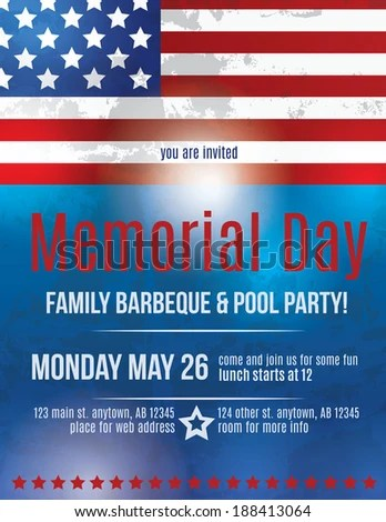 Memorial Day Barbeque Flyer Background Template Stock Photo (Photo - flyer background template