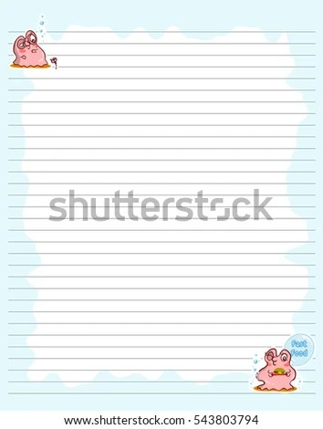 Vector Printing Paper Note Cute Paper Stock Vector 543803794 - lined printing paper