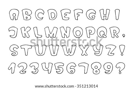 Fancy Vector Font Hand Drawn Letters Stock Vector (2018) 351213014