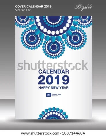 Blue Cover Desk Calendar 2019 Design Stock Vector 1087144604