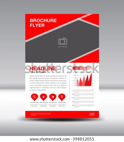 Red Leaflet Template Info Graphics Vector Stock Vector HD (Royalty