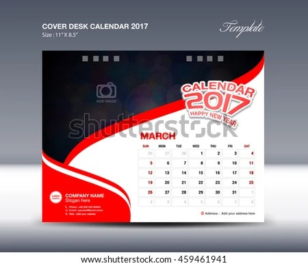 MARCH Desk Calendar 2017 Template Flyer Stock Vector (Royalty Free