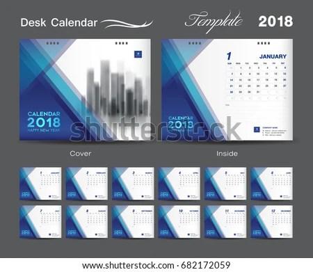 Calendar Year With Week Number Week Number Calendar 365 Set Blue Desk Calendar 2018 Template Stock Vector