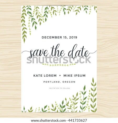 Elegant Garden Leafs Design Save Date Stock Vector HD (Royalty Free