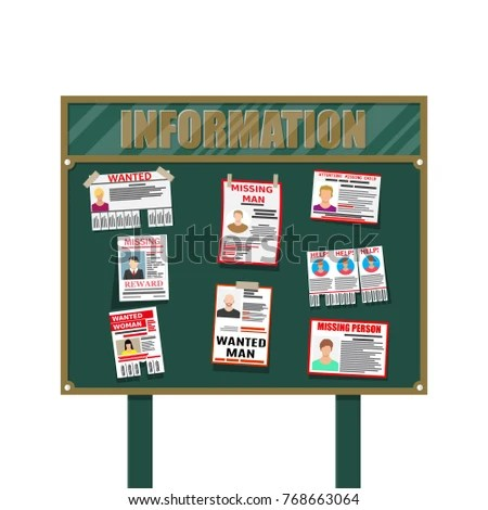 Wanted Person Paper Poster Missing Announce Stock Illustration - lost person poster