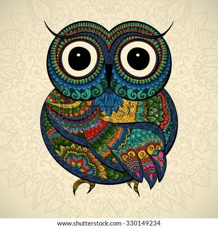 Aztec Print Wallpaper Hd Ornamental Color Owl Flowers Mandala African Stock Vector