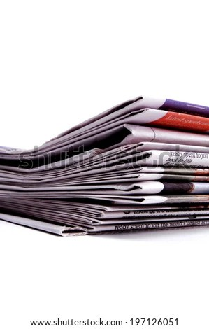 Stack Newspaper Sections Folded Edges Lined Stock Photo (Royalty