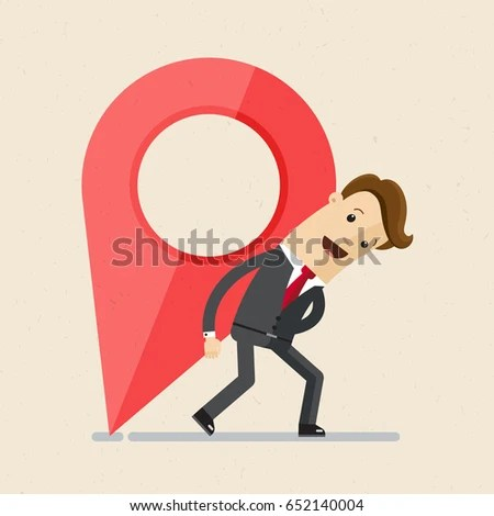 Businessman Carries Large Map Pointer Change Stock Vector HD
