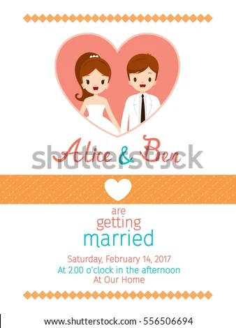 Wedding Invitation Card Template Bride Groom Stock Vector 556506694 - engagement card template