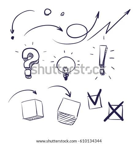 Set Different Arrows Work Flow Charts Stock Vector 610134344
