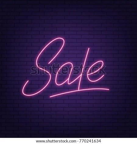 Sale Neon Sign Sale Neon Lettering Stock Vector (2018) 770241634