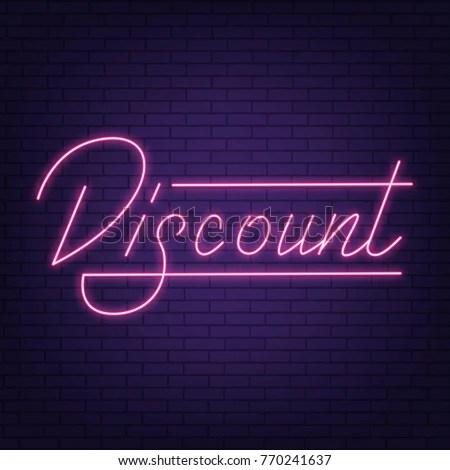 Sale Neon Sign Discount Neon Lettering Stock Photo (Photo, Vector
