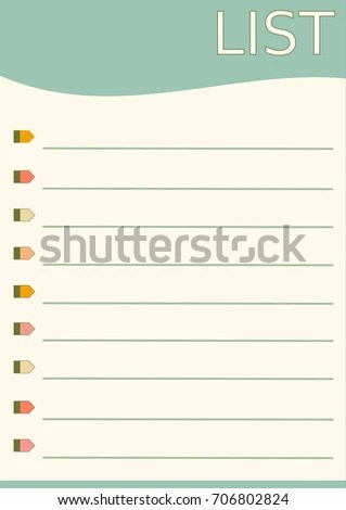 Blank List Paper Template Design Simple Stock Photo (Photo, Vector - note paper template