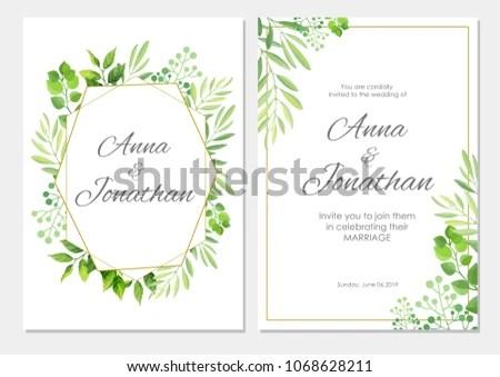 Wedding Invitation Green Leaves Border Floral Stock Vector (Royalty