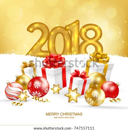 2018 Merry Christmas Happy New Year Stock Vector (Royalty Free