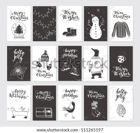 Vector Merry Christmas Black White Greeting Stock Vector (2018 - christmas cards black and white