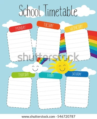 School Timetable Template Poster Note Book Stock Photo (Photo