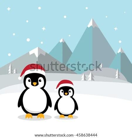 Cute Penguin Wallpaper Cartoon Cute Penguins Standing On White Snow Stock Vector