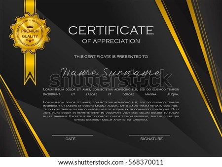 Qualification Certificate Appreciation Design Elegant Luxury Stock